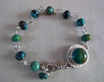 Handcrafted Turquoise Bracelet, Sterling Silver Link Bracelet, Mothers Day Artisan Bracelet, Southwestern Rustic Turquoise Bracelet