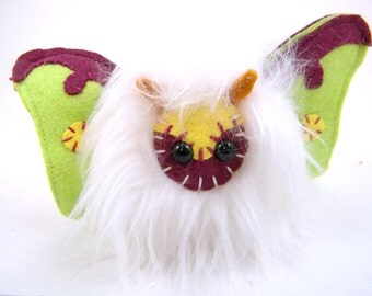 Plush luna moth Little Lepidoptera butterfly white lime green winged creature cute stuffed animal kawaii small softie bug insect woodland