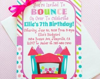 printable bounce house birthday invitation, printable bounce house party invite, rainbow polka dot digital invite, bounce party invite