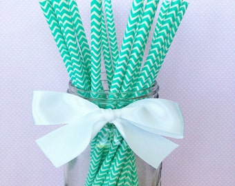 20 aqua chevron paper straws with printable flag, chevron striped straws, turquoise paper straws