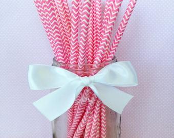 20 pink chevron paper straws with printable flag, chevron striped straws, hot pink paper straws