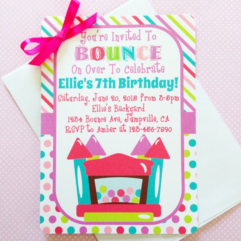 Printable Bounce House Birthday Invitation Printable Bounce