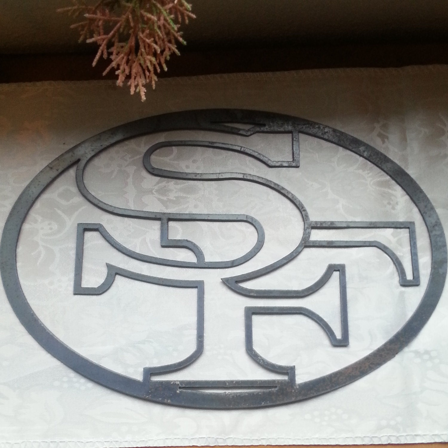 Recycled metal black 49ers logo wall decor san by fttdesign for 49ers wall mural