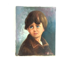 Vintage 1960s/70s Big Eye Sad Boy Original Oil Painting