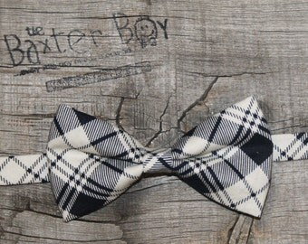 Black & Off-white diagonal plaid little boy bow tie - photo prop, wedding, ring bearer, accessory