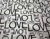 LOVE on Heather Gray Cotton Jersey Blend Knit Fabric (3 yards)