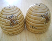 Beehive Salt and Pepper Souvenir Shakers - souvenir, vintage, collectible