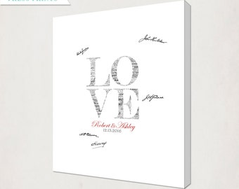 Custom Love Wedding Canvas // Personalized Wedding Guest Book Alternative Canvas // Housewarming Canvas for Guest Signatures // gray & red