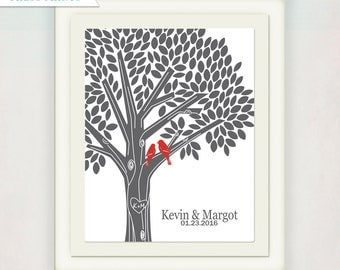 Tree Print with Initials in Gray and Red // Personalized Wedding or Anniversary  // Custom Housewarming Gift with love birds // Wedding Sign
