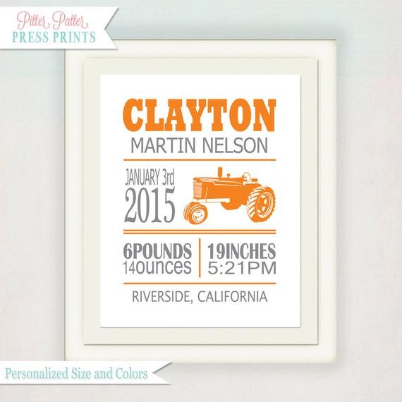 Personalized Boy's Farm Tractor Print // Custom Birth Announcement with Baby's name // Kid's Nursery Wall Art // Orange & Grey