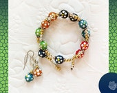 """Wrap/Bangle, """"Nothing Matches"""" Series Multicolor, Polka-Dot Wood Beads, Mixed Metal Gold and Silver Accents, And/Or Earrings, U-Choose Metal"""