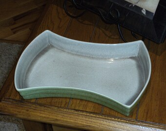 Vintage Green and Gray Spattered Dish