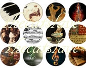 "1"" Inch Classical Instruments,  Violins, Recital, Piano Keyboard,  Cabachons, Scrapbook,  Pins, Flat Back Buttons or Magnets 12 Ct."