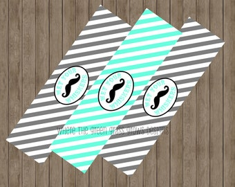 Mustache Wet Your Whistle Water Bottle Labels