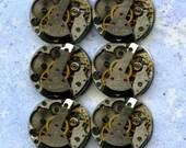 """5/8"""" x 3/4"""", 6 IDENTICAL little watch movements, best price, jewelry art, steampunk, vintage, watch parts, JunqueTreasures, WM16"""