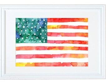 American Flag Watercolor Art Print