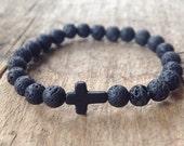 Men's Black Cross Lava Bracelet, Black Lava Stone, Christian Jewelry, Religious Bracelet, Sideways Cross, Stretch Bracelet, Bohemian Jewelry
