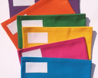 SIX Solid Fabric Cash Only Budget Envelopes with Velcro closures// Bright or Dark Colors