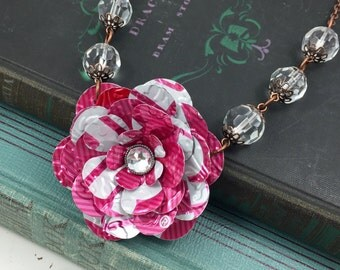 TaB Rose and Crystal Necklace. (Retro) Recycled Soda Can Art.