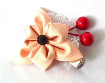 Peach Flower Hair Clip with Lace and Red Berries Tsumami Kanzashi Hair Flower