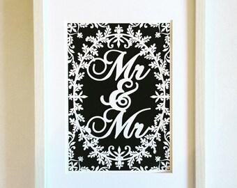 Mr & Mr framed papercut