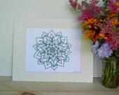 Hand Drawn Mandala Matted Print Artwork, Sacred geometry, zen, yoga, meditation, teal mandala, matted prints, ink pen, mandala art work