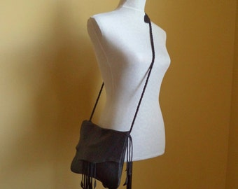 black leather handbag hip belt bag shoulder purse clutch with leaf fringe by Tuscada. Ready to ship.