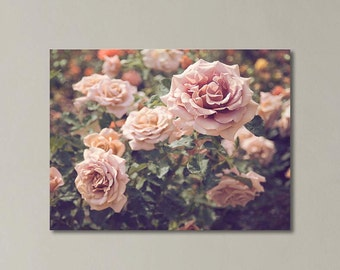 """Floral Canvas Art, Roses Photography, Pink Green Wall Decor, Pastel Spring, Shabby Chic Canvas Art, Fine Art Gallery Wrap """" The Rose Garden"""""""