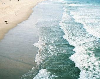 "Seascape Photography, Ocean Waves, Turquoise Beach, Coastal Decor, Manhattan Beach California, Summertime, ""California Seaside"""