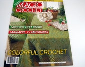 Vintage MAGIC CROCHET Pattern book - February 1993 - #82 - Colorful Crochet - filet Decor - doilies - Lampshades - and More