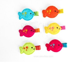 Fish  felt hair clip - U pick the color / baby hair clip / barrette.