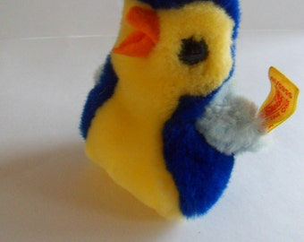 Steiff bird, mini cosy bird, blue bird, w.button/flag, made in Germany 504