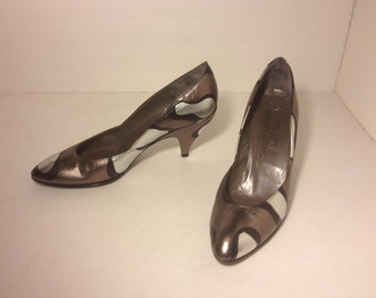 Abstract Metallic Charles Jourdan Pumps -Size 8