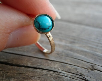 Turquoise Ring, Turquoise Statement ring, Gold Stacking Rings, 6mm Birthstone Stacking Rings, Opal Ring, Gold Filled Ring, Statement Rings