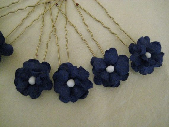 Flower Hairpins x 8. Navy Blue. Wedding, Bridal, Flower Girl, Prom