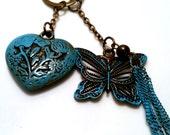 Patina Jewelry Butterfly Heart Long Necklace Trending Now Verdigris Patina Women Teen Girl Gift