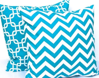 Throw Pillows Turquoise Decorative Throw Pillow Covers 16 x 16 Inches Chevron and Chain Link Gotcha by Premier Prints