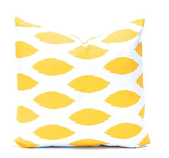 Yellow Pillow Cover - Yellow Ikat Pillow - Decorative Pillow Covers - Yellow Ikat Throw Pillow Covers - Yellow Cushion Covers - Ikat Pillow