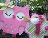 "Owl ""it's a girl"" BANNER in Pinks and Green"