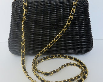 Vintage 1960's/Black Wicker Purse with Gold Chain Strap/Black Wicker Convertible Purse with Chain Strap/Black Wicker Clutch