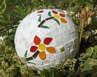 Mosiac garden ball ornament 10.5 inches