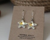 Starfish Earrings, Nautical Jewelry, Sterling Silver Earrings, Beach Wedding, Starfish Jewellery, Swarovski Crystal Earrings, Nautical