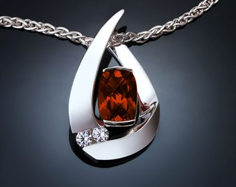 garnet necklace, Argentium silver pendant, January birthstone, Mozambique garnet pendant, red gemstone, white sapphires, artisan gift - 3378