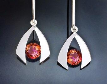 mystic topaz earrings, argentium silver necklace,  drop earrings, dangle earrings, orange earrings, modern jewelry - 2424