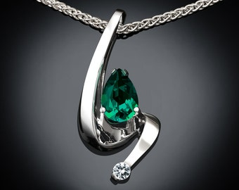 emerald necklace, May birthstone, emerald pendant, white sapphire, fine jewelry, artisan jewelry, Argentium silver, Chatham emerald - 3380
