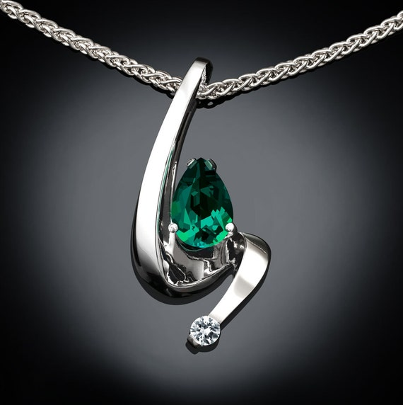 Created Emerald and White Sapphire Necklace