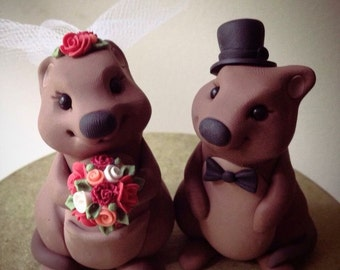 Quokkas custom wedding cake topper handmade