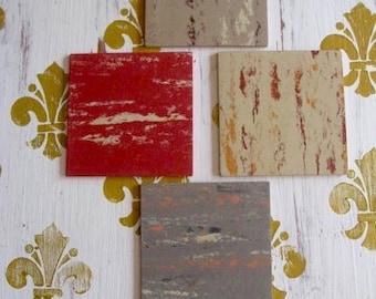 "4 Mid Century Vintage Linoleum Samples 4"" x 4"" Excellent for Coasters or Repurposing  Art L4 Ma-Ti-Co"