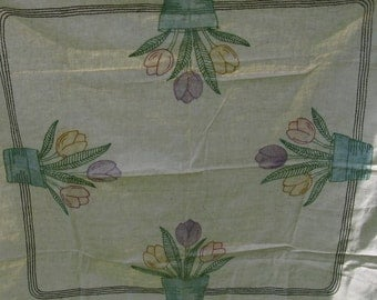 vintage linen hand embroidered tablecloth tulips 40 inches rustic cottage country farmhouse rustic wedding