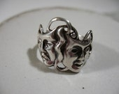 Reserved for VL, Vintage Sterling Silver Comedy - Tragedy Mask Ring, Size 7